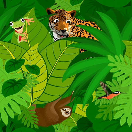 Seamless tropical rainforest Jungle background with kids animals Ilustração