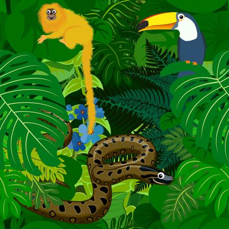 Nahtlose tropischen Regenwald-Dschungel-Hintergrund mit Kindern Tiere