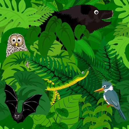 tropical rainforest: Seamless tropical rainforest Jungle background with kids animals Illustration