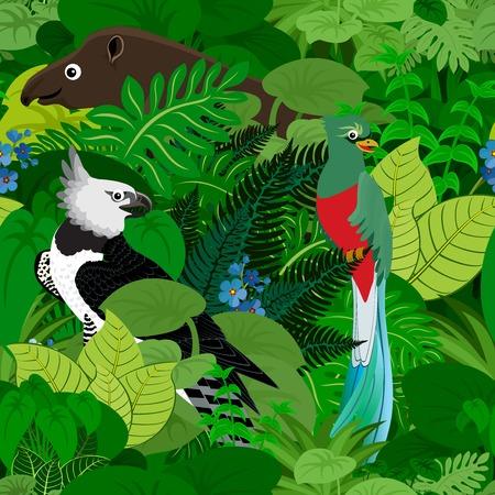 rainforest background: Seamless tropical rainforest Jungle background with kids animals Illustration