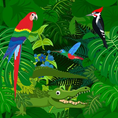 Naadloos tropisch regenwoud Jungle achtergrond met kinderen dieren