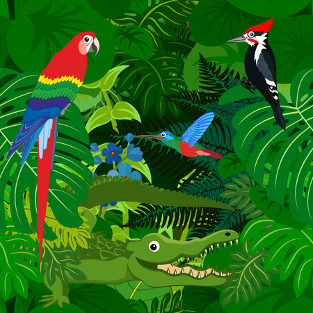 Seamless tropical rainforest Jungle background with kids animals Illustration