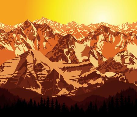 rockies: Illustration Morning in Mountains