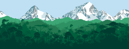 rainforest: horizontal seamless tropical rainforest Jungle with mountains background