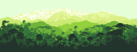 horizontal seamless tropical rainforest Jungle with mountains background