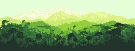 horizontale naadloze tropisch regenwoud jungle met bergen achtergrond