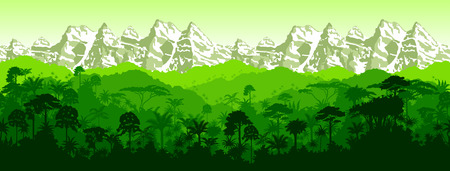 tropical rainforest: horizontal seamless tropical rainforest Jungle with mountains background