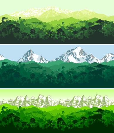 set van Vector horizontale naadloze tropisch regenwoud Jungle met bergen achtergronden Stock Illustratie