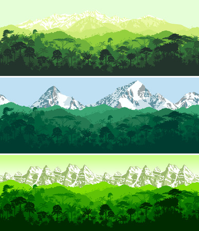 set of Vector horizontal seamless tropical rainforest Jungle with mountains backgrounds