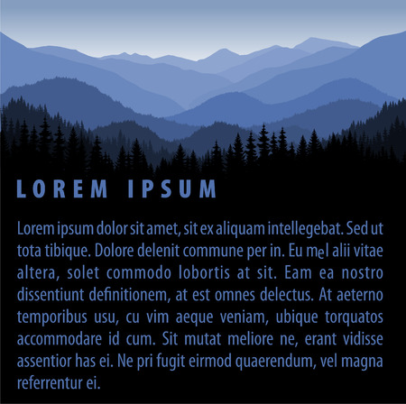 vector forest background design template with mountains Illustration