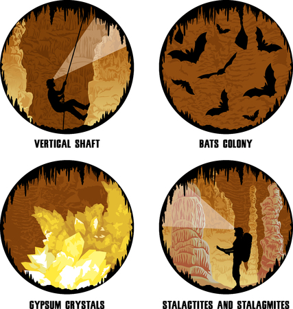 stalagmites: set of vector illustrations of cave with stalactites and stalagmites, girl caver and bats