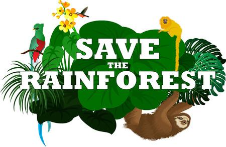 oso perezoso: ilustración vectorial con animales de la selva de la selva - la pereza, el quetzal y el mono