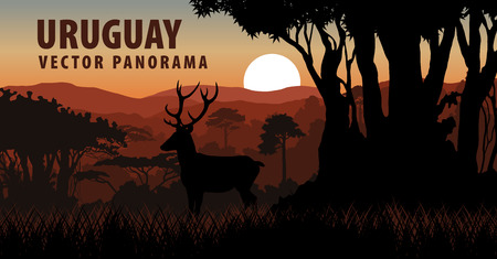 Vector panorama with deer in forest - Uruguay, South America