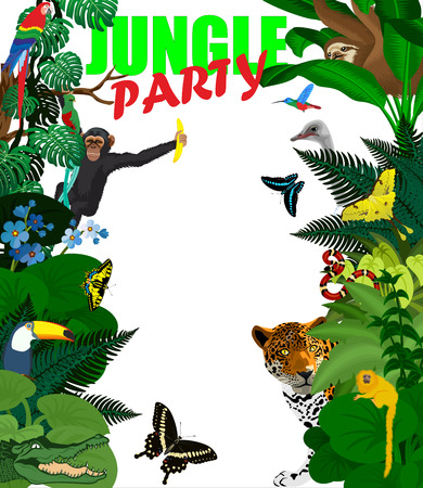 rain forest: tropical card with jungle animals. Jungle style rain forest illustration.