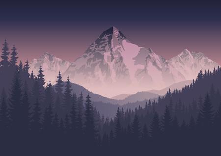 krajobraz gór rano Ilustracje wektorowe