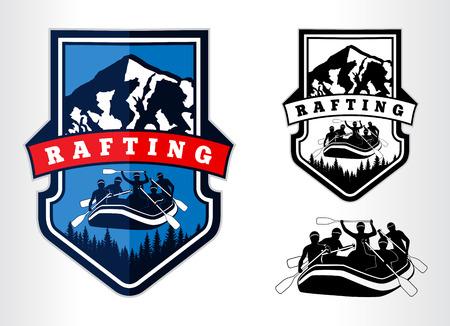set of rafting emblems labels