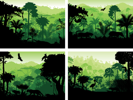 set of rainforest animals silhouettes in sunset design templates Vectores