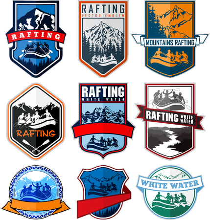 set of rafting emblems labels