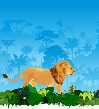 man eater: lion in tropical rainforest jungle