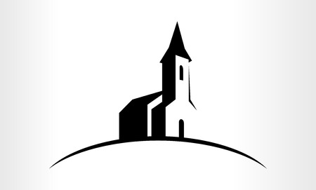 Illustratie van een kerk Stock Illustratie