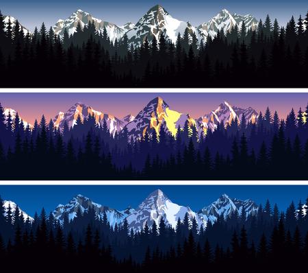 set van bergen bostextuurachtergrond naadloos patroon