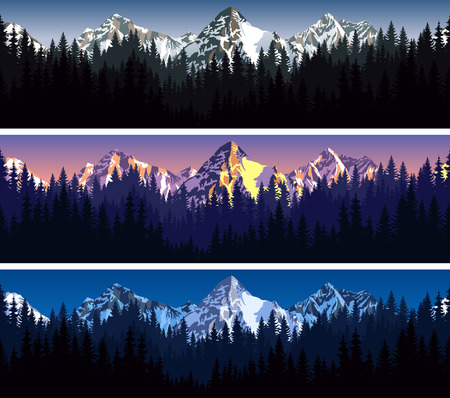 set of mountains forest background texture seamless pattern