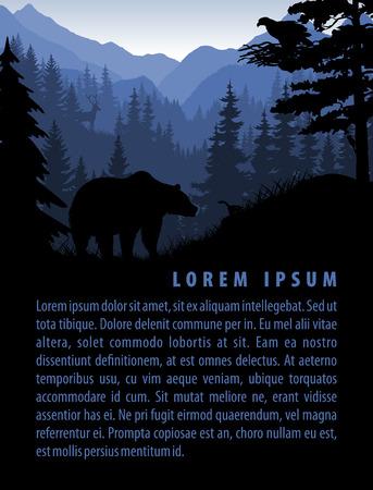 bos achtergrond ontwerp sjabloon met bergen en dieren