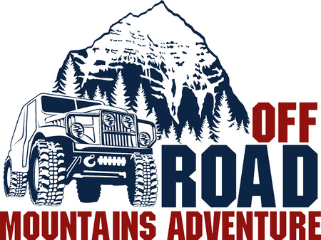 emblem with 4x4 vehicle off-road car and mountains forest