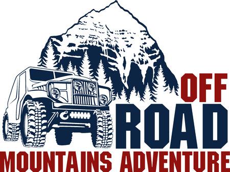 embleem met 4x4 off-road auto en de bergen bos Stock Illustratie