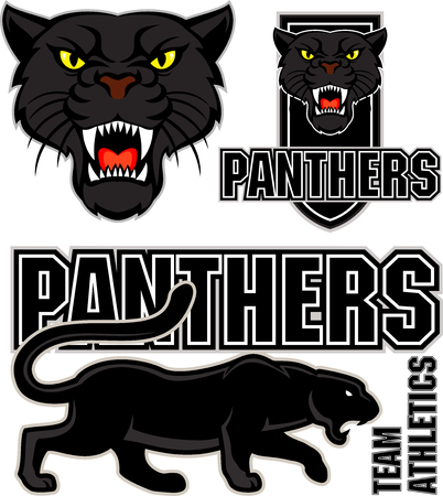 angry black panther face sport emblem