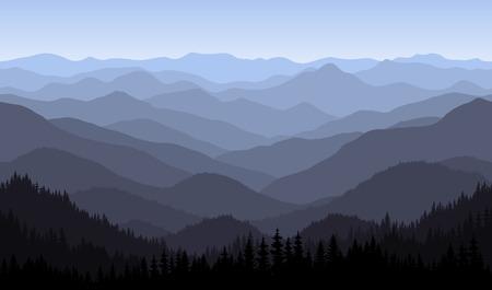 bergen ochtendlandschap - naadloze achtergrond.
