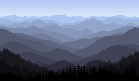 mountains morning landscape - seamless background.