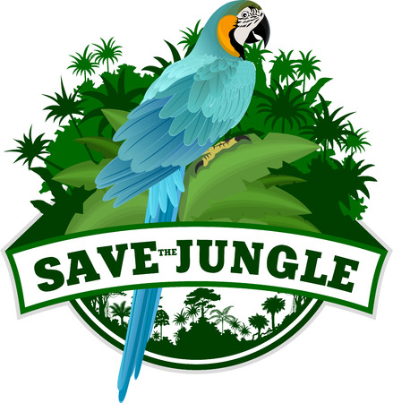 Jungle Emblem with parrot Blue and yellow Macaw (Ara)