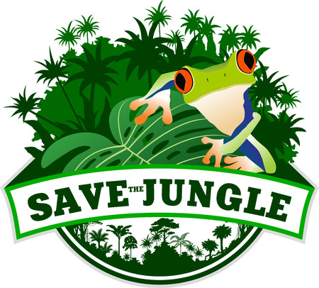 red eyed tree frog: Jungle Emblem with Frog
