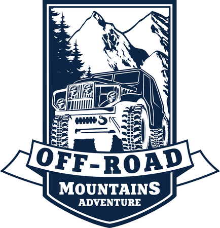 4x4: emblem with 4x4 vehicle off-road car and mountains