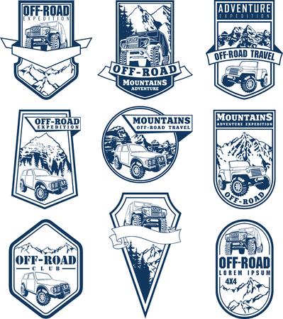 set of off-road labels sketch