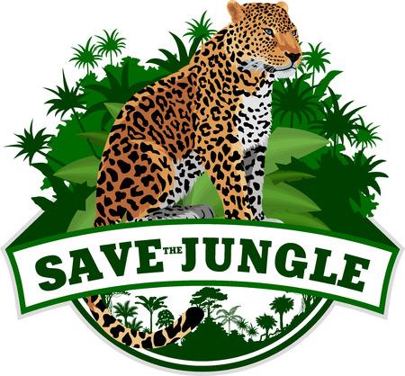 studio zoo: Vector Jungle Emblem with leopard Illustration