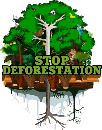 Deforestation jungle  illustration.  Rainforest destroyed with animals. Illustration