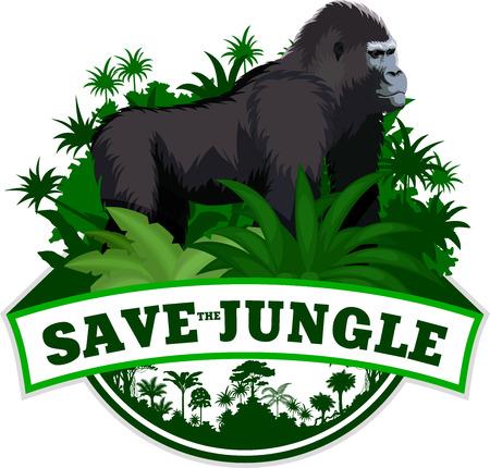 Vector Jungle Emblem with male gorilla