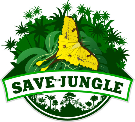 Vector Jungle Emblem with butterfly
