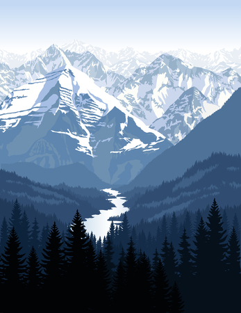 swiss alps: vector morning in beautiful mountains with river