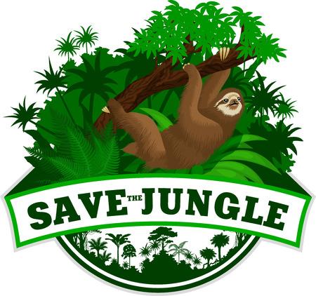 sloth: Vector de la selva con el emblema de la pereza Vectores