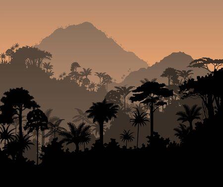 iluminado a contraluz: Vector Fondo de la selva tropical de la selva tropical