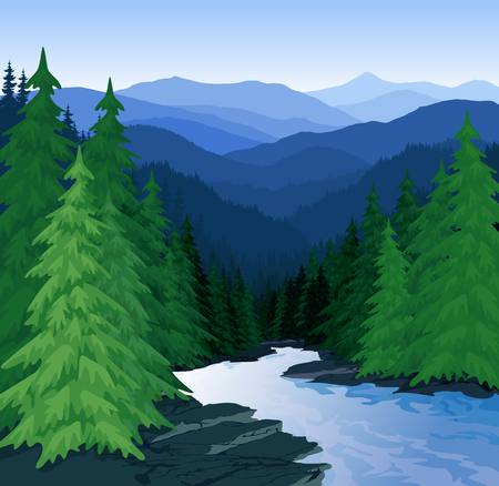 vector avond in prachtige bergen bos met rivier Stock Illustratie