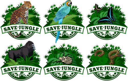 save jungle emblems with animals set
