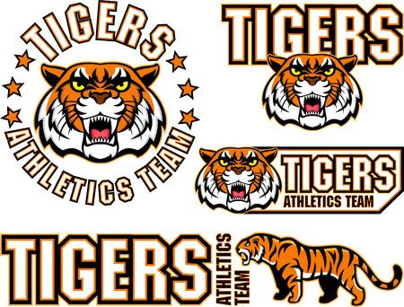 vector boos tiger gezicht sport embleem