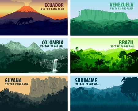Wektor zestaw Panoramy krajach Ameryki Południowej - Wenezuela, Brazylia, Surinam, Ekwador, Kolumbia, Gujana