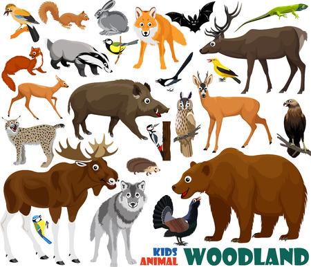 vector set van leuke bos kinderen dieren Stock Illustratie