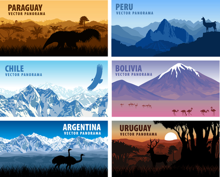 machu: vector set of panorams countries South America - Chile, Peru, Argentina, Bolivia, Paraguay, Uruguay