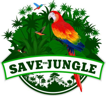 Vector de la selva del emblema con el loro guacamayo rojo (Ara) y colibríes Vectores
